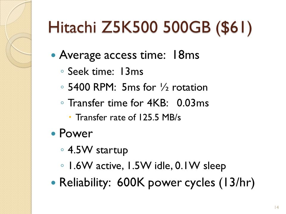 Hitachi Z5K500 500GB ($61) Average access time: 18ms Seek time: 13ms 5400 RPM: 5ms for ½ rotation Transfer time for 4KB: 0.03ms Transfer rate of 125.5 MB/s Power 4.5W startup 1.6W active, 1.5W idle, 0.1W sleep Reliability: 600K power cycles (13/hr) 14