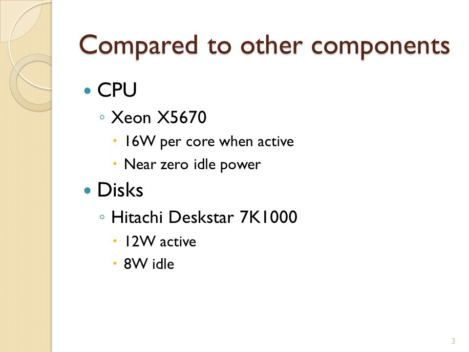 Compared to other components CPU Xeon X5670 16W per core when active Near zero idle power Disks Hitachi Deskstar 7K1000 12W active 8W idle 3