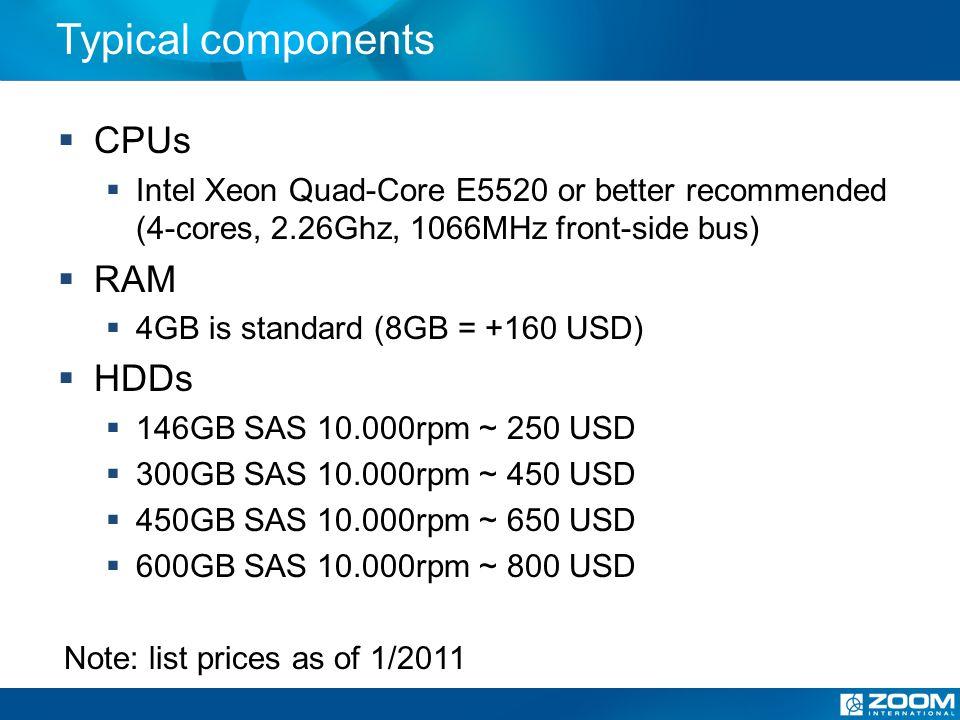 HP Small server - ProLiant DL320 G6 Max.1 CPU (2 or 4 core), max.