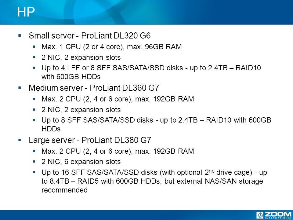 IBM Small server – IBM System x3250 M3 Max.1 CPU (2 or 4 core), max.