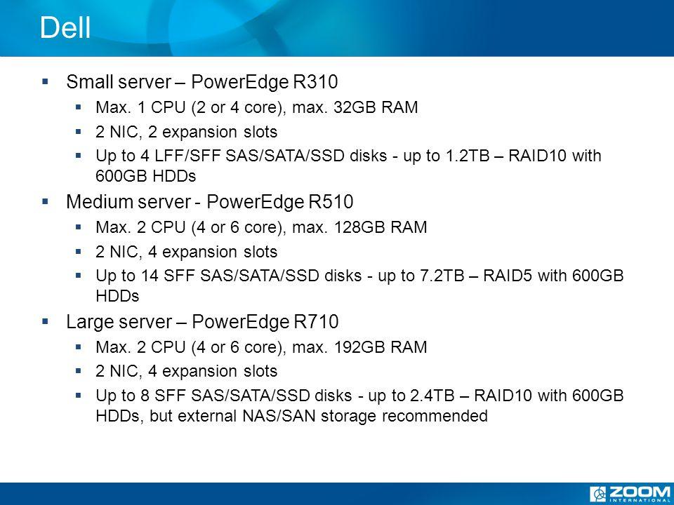 Dell Small server – PowerEdge R310 Max. 1 CPU (2 or 4 core), max.