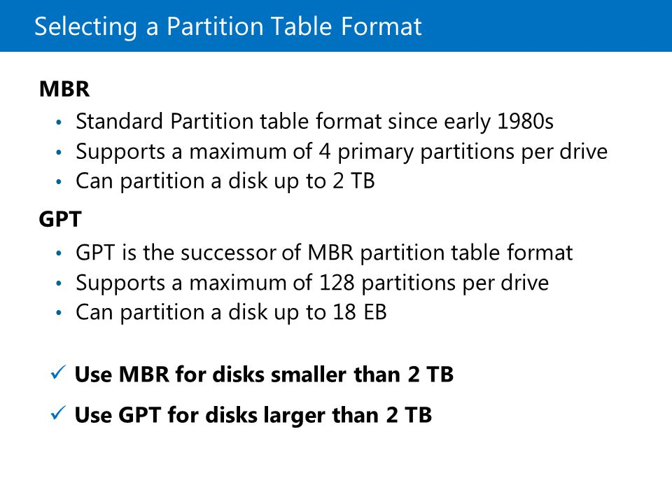 Selecting a Partition Table Format GPT GPT is the successor of MBR partition table format Supports a maximum of 128 partitions per drive Can partition