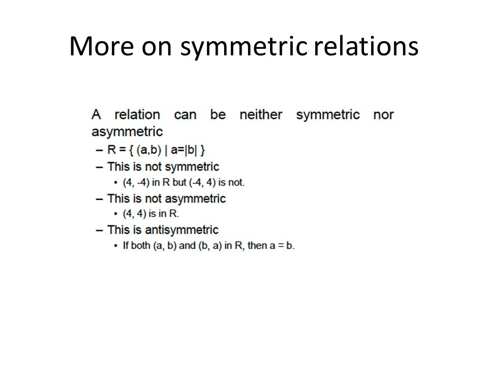 More on symmetric relations
