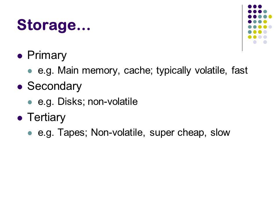 Storage… Primary e.g. Main memory, cache; typically volatile, fast Secondary e.g. Disks; non-volatile Tertiary e.g. Tapes; Non-volatile, super cheap,