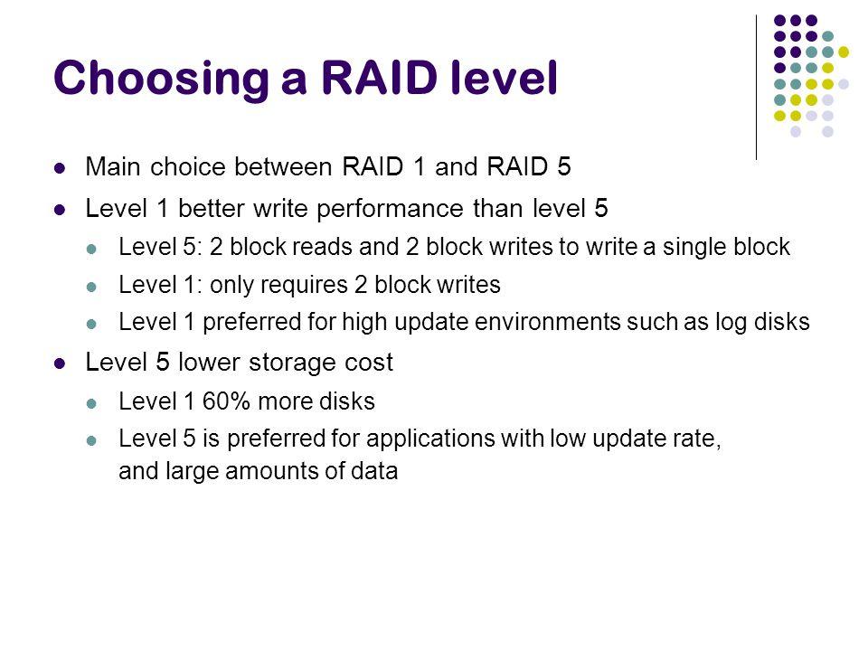 Choosing a RAID level Main choice between RAID 1 and RAID 5 Level 1 better write performance than level 5 Level 5: 2 block reads and 2 block writes to
