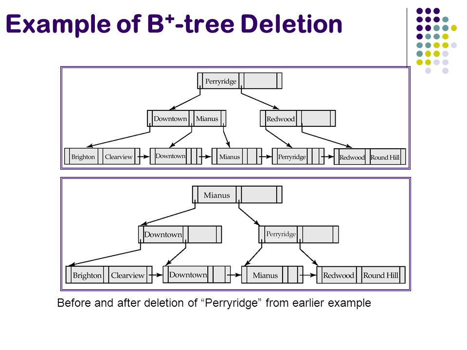 Example of B + -tree Deletion Before and after deletion of Perryridge from earlier example
