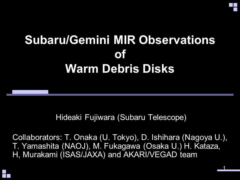 Subaru/Gemini MIR Observations of Warm Debris Disks Hideaki Fujiwara (Subaru Telescope) 1 Collaborators: T.