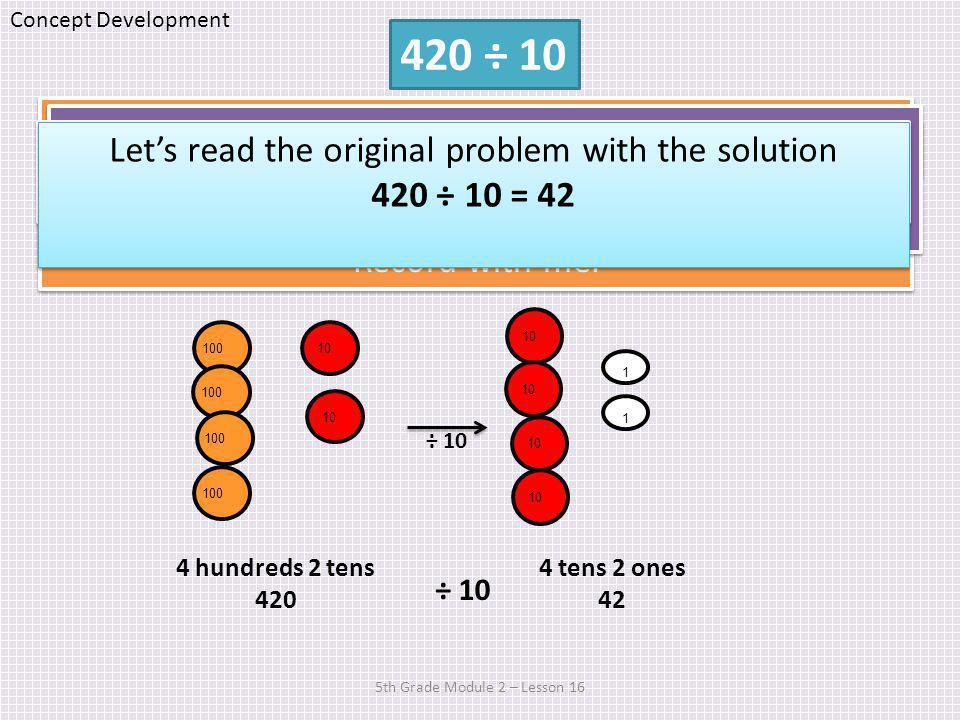 5th Grade Module 2 – Lesson 16 Solution