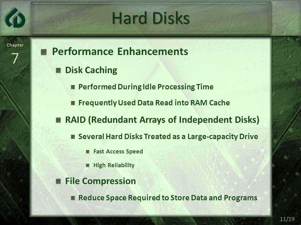 Chapter7 11/19 Hard Disks Performance Enhancements Disk Caching Performed During Idle Processing Time Frequently Used Data Read into RAM Cache RAID (Redundant Arrays of Independent Disks) Several Hard Disks Treated as a Large-capacity Drive Fast Access Speed High Reliability File Compression Reduce Space Required to Store Data and Programs