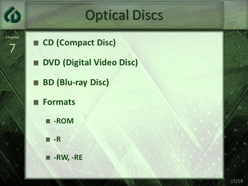 Chapter7 13/19 Optical Discs CD (Compact Disc) DVD (Digital Video Disc) BD (Blu-ray Disc) Formats -ROM -R -RW, -RE