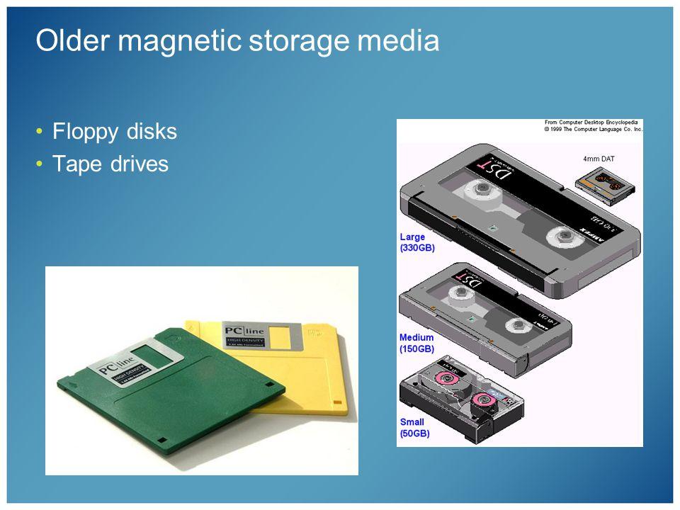 Older magnetic storage media Floppy disks Tape drives