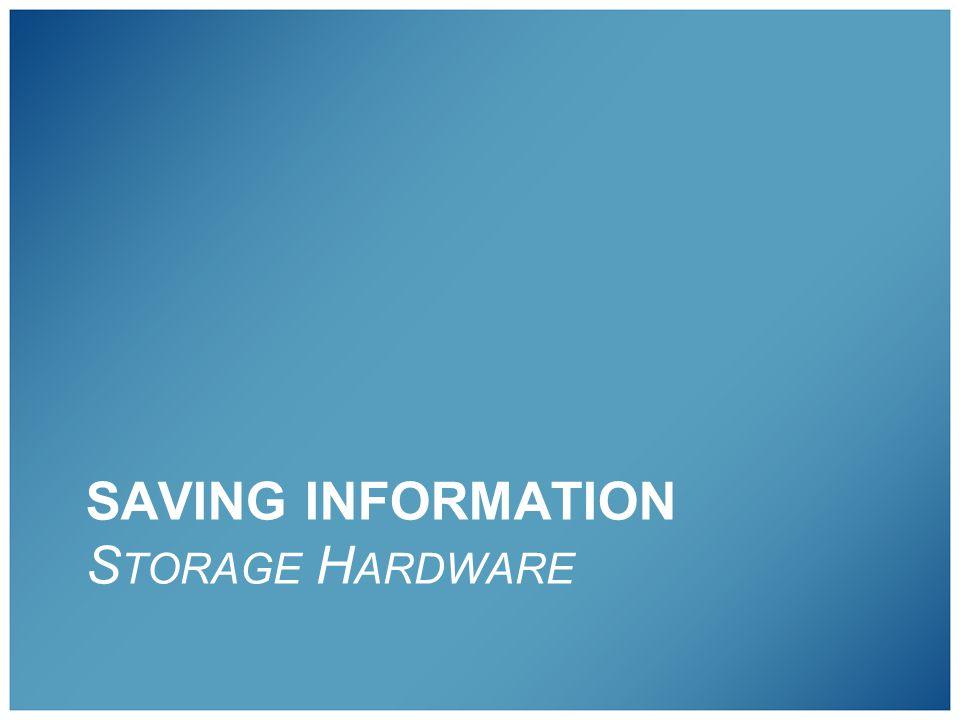 SAVING INFORMATION S TORAGE H ARDWARE