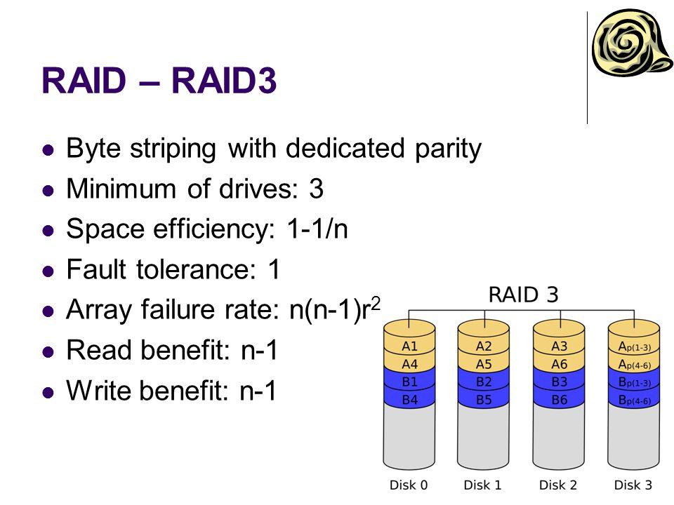 RAID – RAID3 Byte striping with dedicated parity Minimum of drives: 3 Space efficiency: 1-1/n Fault tolerance: 1 Array failure rate: n(n-1)r 2 Read benefit: n-1 Write benefit: n-1