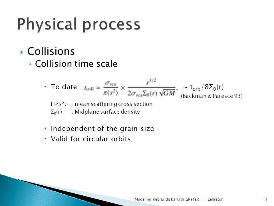 Collisions Collision time scale To date: ~ t orb /8Σ 0 (r) (Backman & Paresce 93) Π : mean scattering cross section Σ 0 (r): Midplane surface density