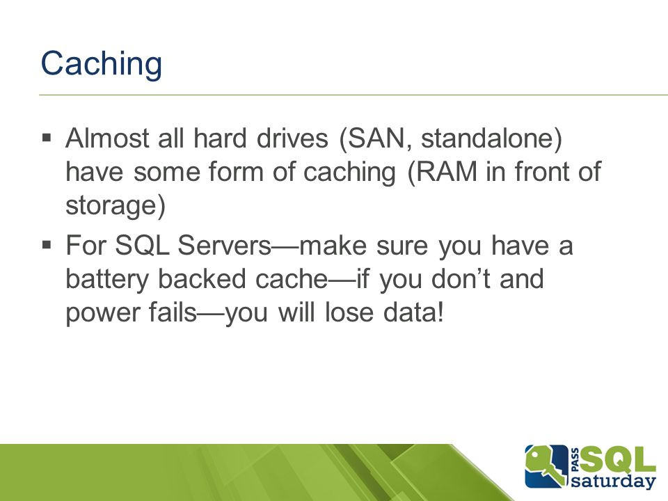 RAID 0 No data protection at all Best performance If you lose one disk, you lose it all As you add disks risk increases