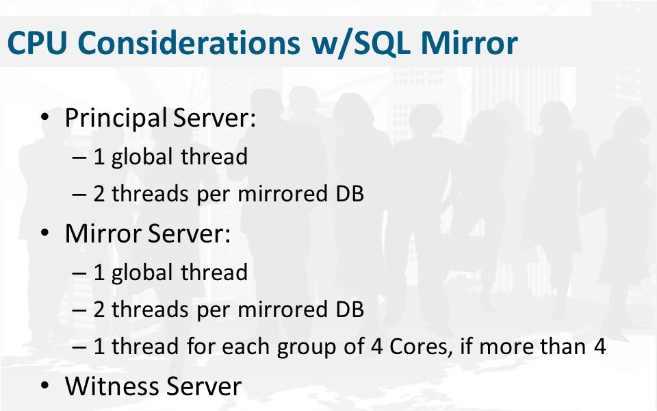 Memory Considerations Combined Size of Content Databases Recommended RAM Small Farm8 GB Medium Farm (<1TB)16 GB <2 TB32 GB >2 TB to <5 TB64 GB Important: If using SQL Mirroring you may need Extra RAM.