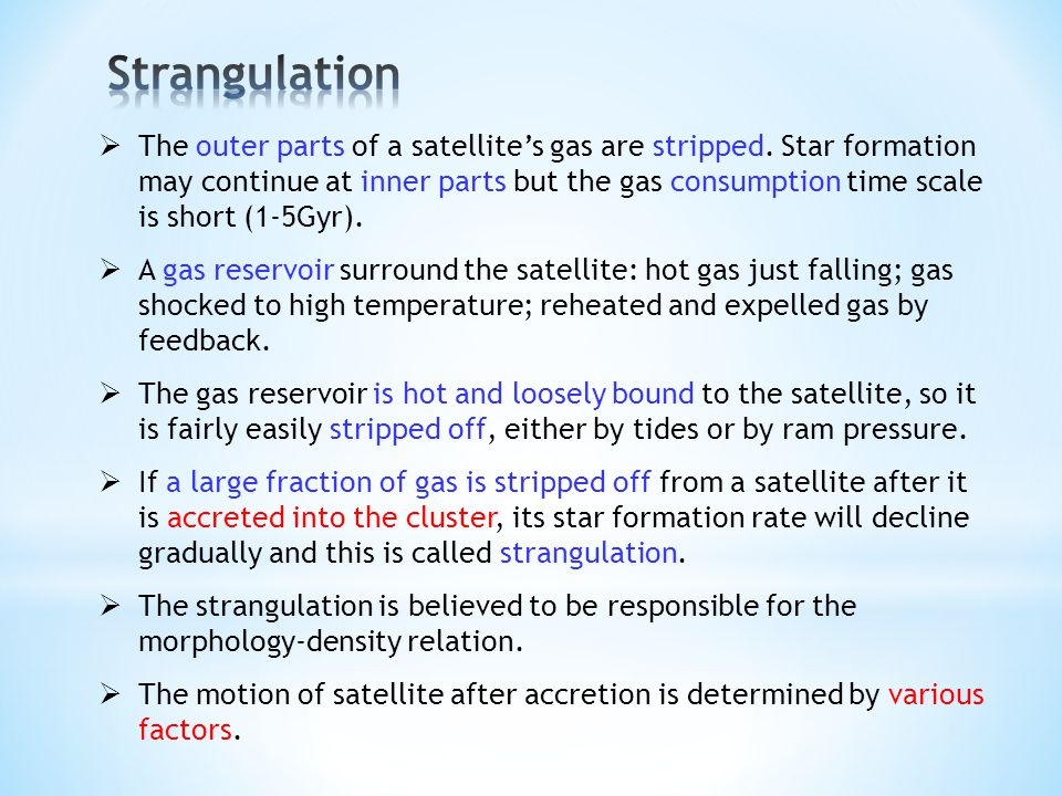 The outer parts of a satellites gas are stripped.