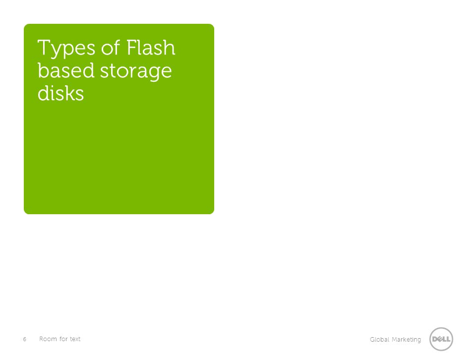 6 Global Marketing Room for text Types of Flash based storage disks