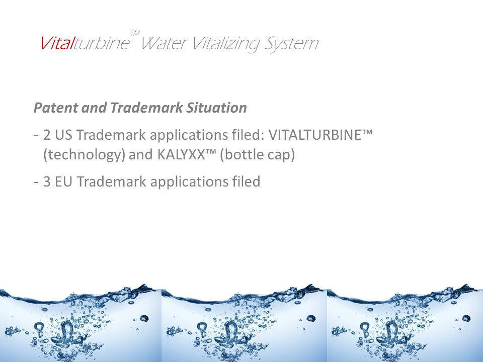 Patent and Trademark Situation -2 US Trademark applications filed: VITALTURBINE (technology) and KALYXX (bottle cap) -3 EU Trademark applications filed Vitalturbine Water Vitalizing System