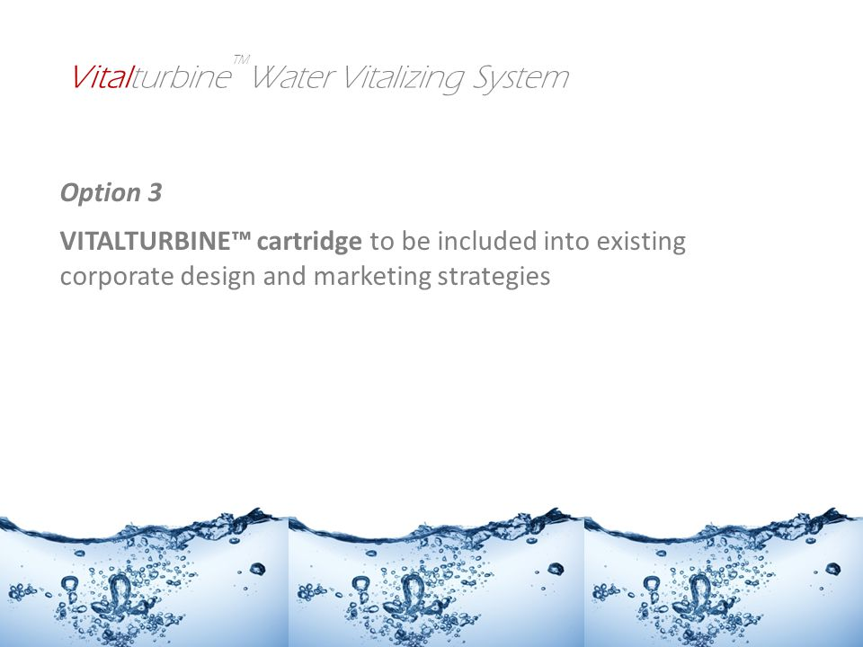 Option 3 VITALTURBINE cartridge to be included into existing corporate design and marketing strategies Vitalturbine Water Vitalizing System