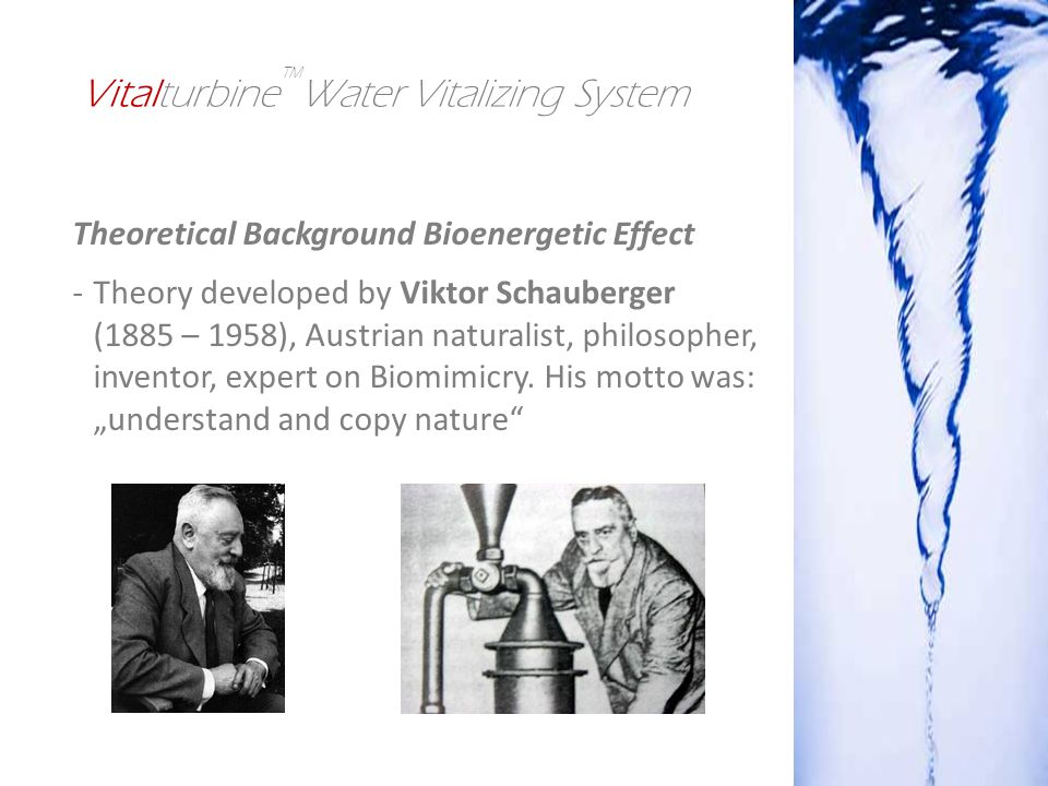 Theoretical Background Bioenergetic Effect -Theory developed by Viktor Schauberger (1885 – 1958), Austrian naturalist, philosopher, inventor, expert on Biomimicry.