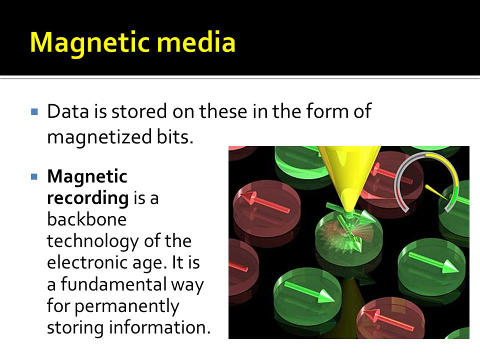 Data is stored on these in the form of magnetized bits.