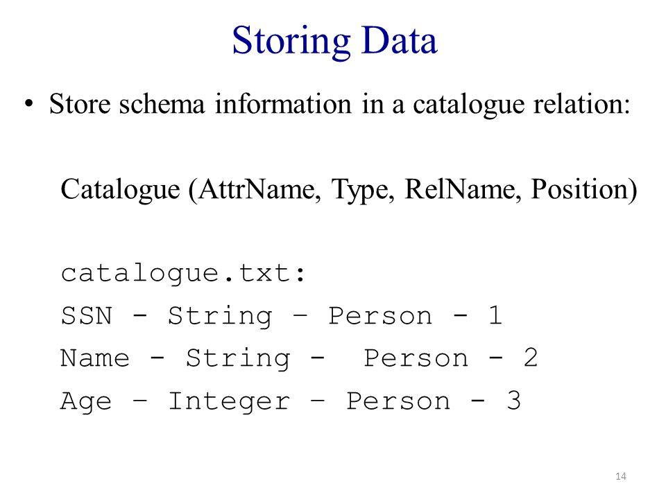 Storing Data Store schema information in a catalogue relation: Catalogue (AttrName, Type, RelName, Position) catalogue.txt: SSN - String – Person - 1 Name - String - Person - 2 Age – Integer – Person - 3 14