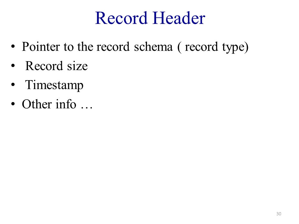 Record Header Pointer to the record schema ( record type) Record size Timestamp Other info … 30