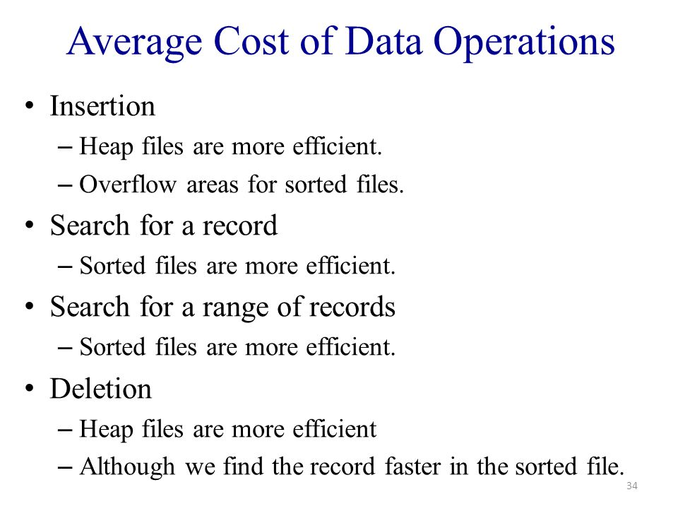 Average Cost of Data Operations Insertion – Heap files are more efficient.