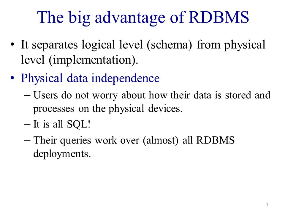 Database Implementation 25 Conceptual Design Physical Storage Schema Entity Relationship(ER) Model Relational Model Files and Indexes User Requirements Data storage