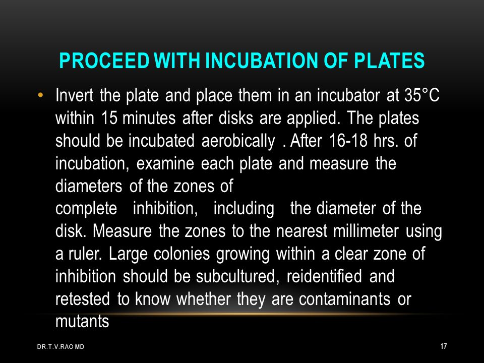 PROCEED WITH INCUBATION OF PLATES Invert the plate and place them in an incubator at 35°C within 15 minutes after disks are applied. The plates should