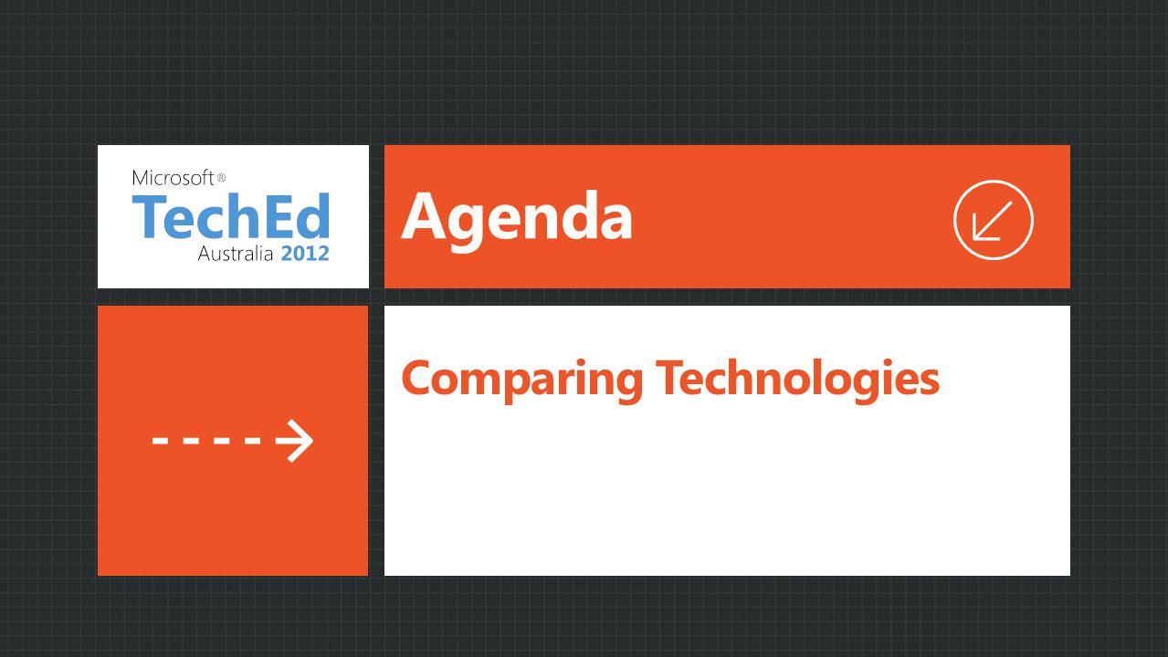 Agenda Comparing Technologies