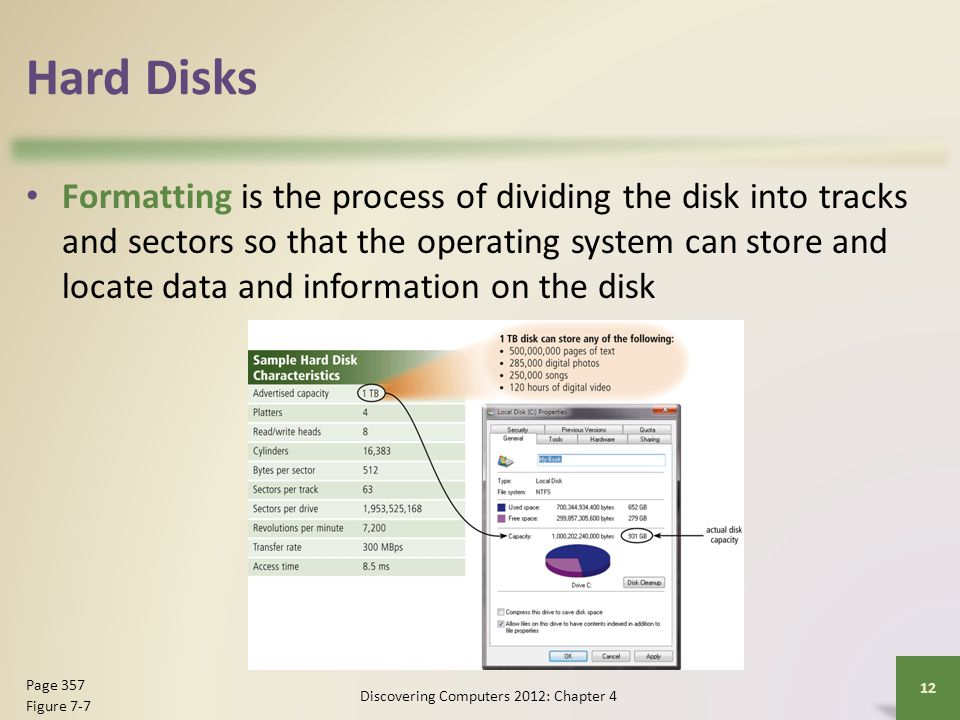 Hard Disks Formatting is the process of dividing the disk into tracks and sectors so that the operating system can store and locate data and informati