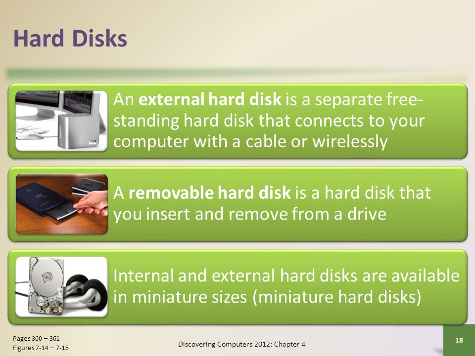 Hard Disks An external hard disk is a separate free- standing hard disk that connects to your computer with a cable or wirelessly A removable hard dis