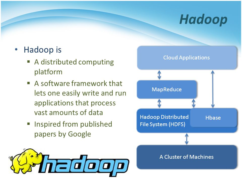 Hadoop Hadoop is A distributed computing platform A software framework that lets one easily write and run applications that process vast amounts of da