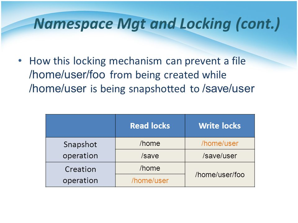 Namespace Mgt and Locking (cont.) How this locking mechanism can prevent a file /home/user/foo from being created while /home/user is being snapshotte