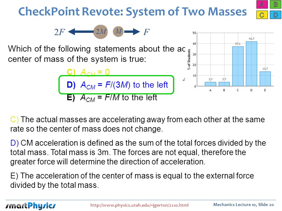 http://www.physics.utah.edu/~jgerton/2210.html Mechanics Lecture 10, Slide 20 CheckPoint Revote: System of Two Masses Which of the following statements about the acceleration of the center of mass of the system is true: C) The actual masses are accelerating away from each other at the same rate so the center of mass does not change.