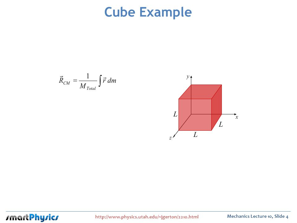 http://www.physics.utah.edu/~jgerton/2210.html Mechanics Lecture 10, Slide 4 Cube Example
