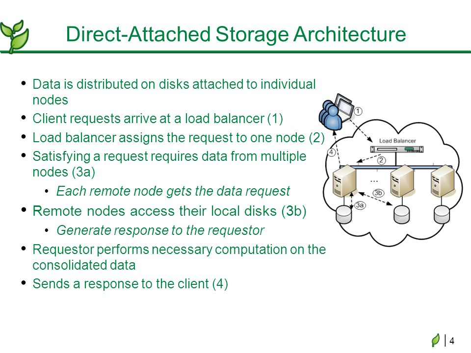 | 4| 4 Direct-Attached Storage Architecture Data is distributed on disks attached to individual nodes Client requests arrive at a load balancer (1) Load balancer assigns the request to one node (2) Satisfying a request requires data from multiple nodes (3a) Each remote node gets the data request Remote nodes access their local disks (3b) Generate response to the requestor Requestor performs necessary computation on the consolidated data Sends a response to the client (4)