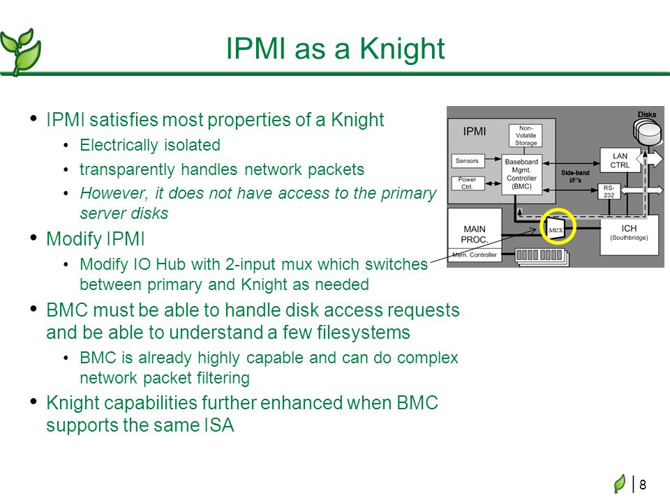 | 8| 8 IPMI as a Knight IPMI satisfies most properties of a Knight Electrically isolated transparently handles network packets However, it does not have access to the primary server disks Modify IPMI Modify IO Hub with 2-input mux which switches between primary and Knight as needed BMC must be able to handle disk access requests and be able to understand a few filesystems BMC is already highly capable and can do complex network packet filtering Knight capabilities further enhanced when BMC supports the same ISA