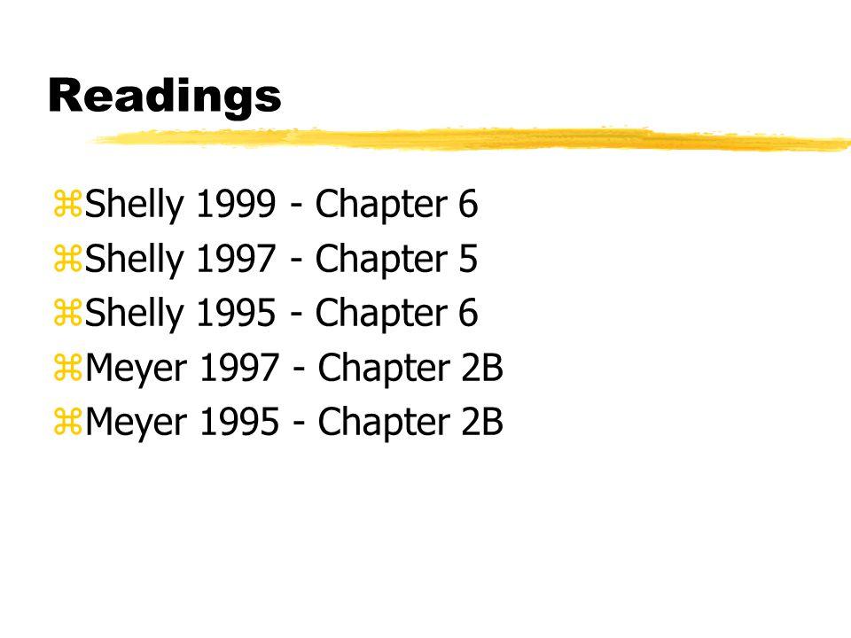 Readings zShelly 1999 - Chapter 6 zShelly 1997 - Chapter 5 zShelly 1995 - Chapter 6 zMeyer 1997 - Chapter 2B zMeyer 1995 - Chapter 2B