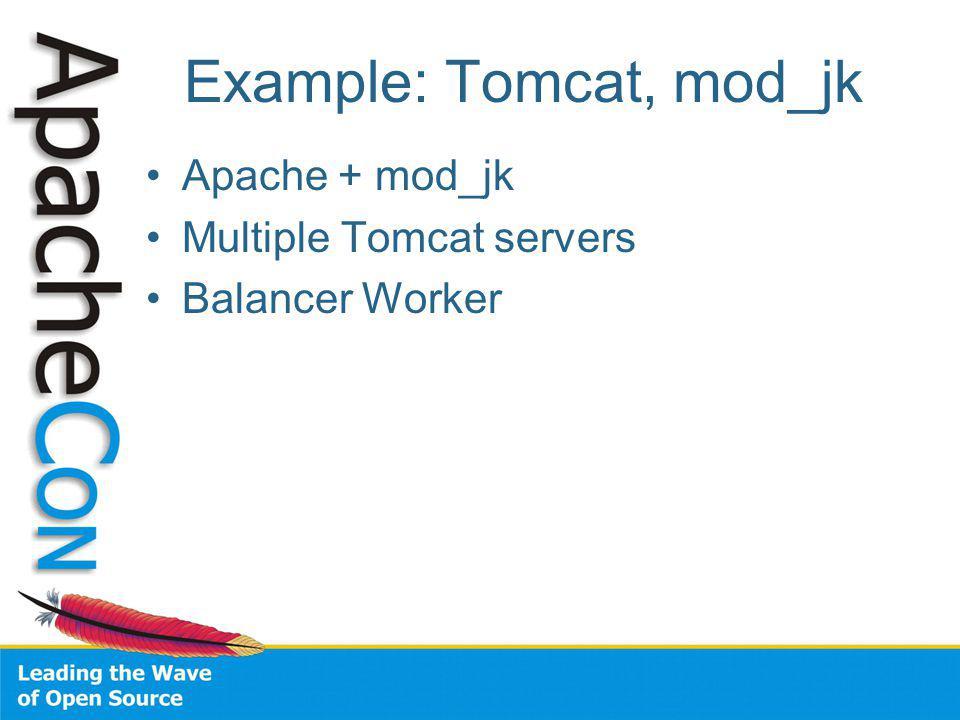 Example: Tomcat, mod_jk Apache + mod_jk Multiple Tomcat servers Balancer Worker
