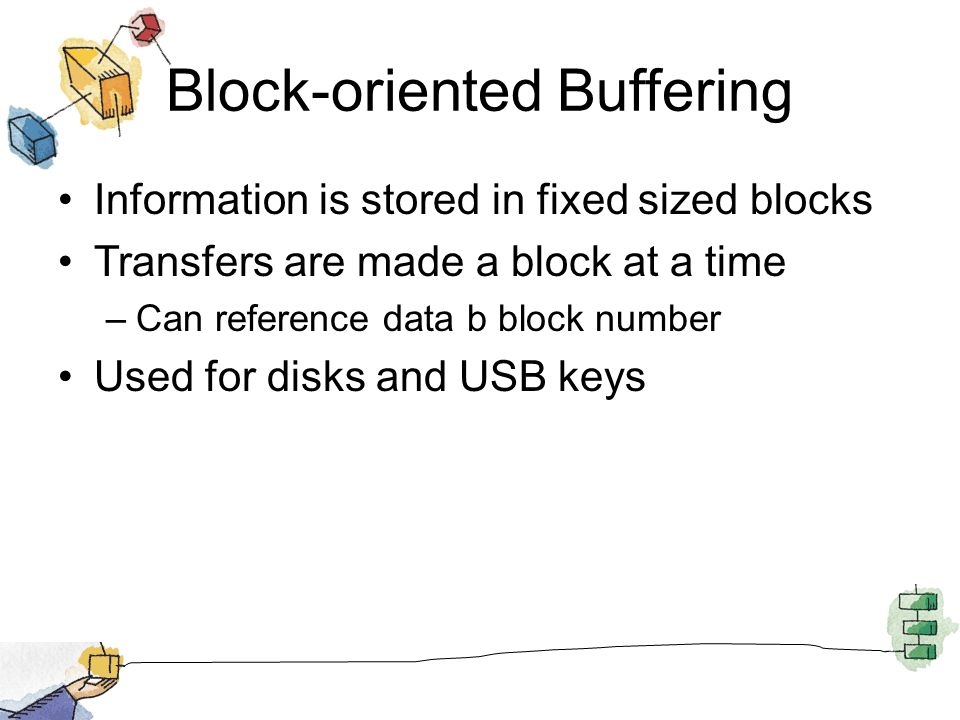 Block-oriented Buffering Information is stored in fixed sized blocks Transfers are made a block at a time –Can reference data b block number Used for