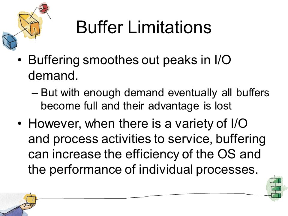 Buffer Limitations Buffering smoothes out peaks in I/O demand. –But with enough demand eventually all buffers become full and their advantage is lost