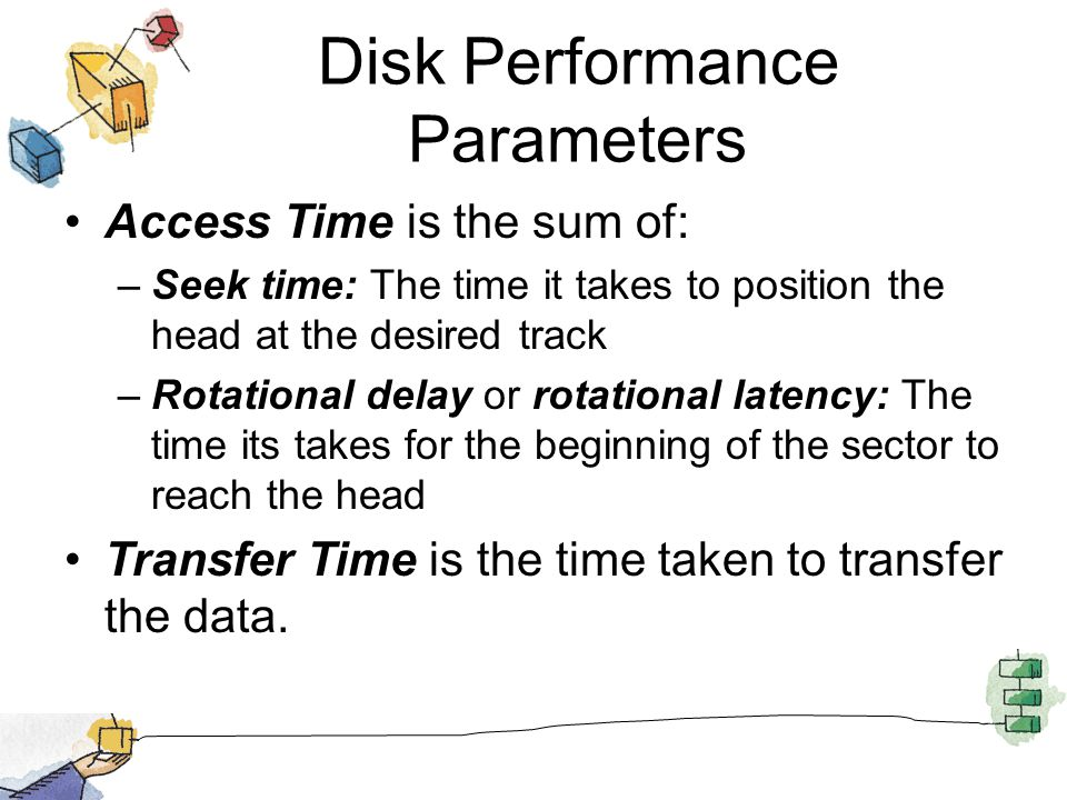 Disk Performance Parameters Access Time is the sum of: –Seek time: The time it takes to position the head at the desired track –Rotational delay or ro