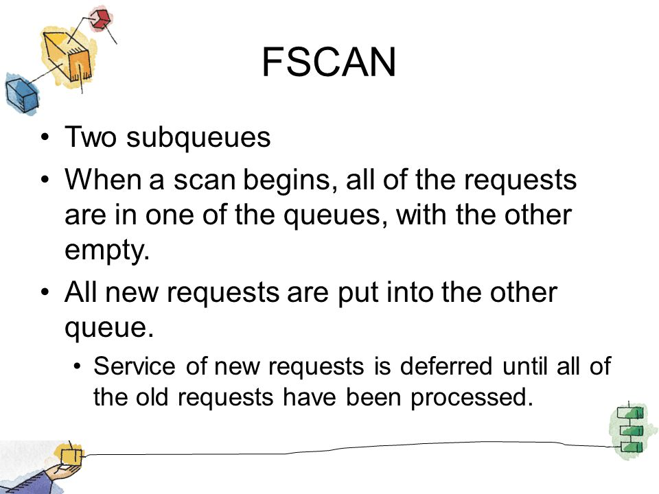 FSCAN Two subqueues When a scan begins, all of the requests are in one of the queues, with the other empty. All new requests are put into the other qu
