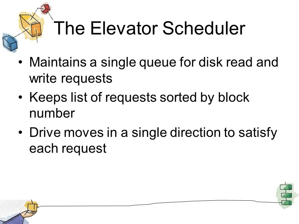 The Elevator Scheduler Maintains a single queue for disk read and write requests Keeps list of requests sorted by block number Drive moves in a single