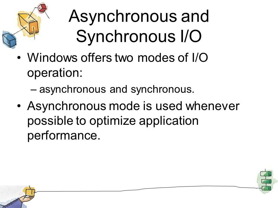 Asynchronous and Synchronous I/O Windows offers two modes of I/O operation: –asynchronous and synchronous. Asynchronous mode is used whenever possible