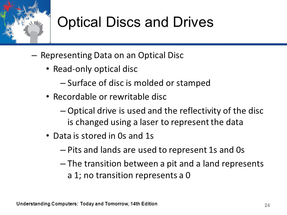 Optical Discs and Drives – Representing Data on an Optical Disc Read-only optical disc – Surface of disc is molded or stamped Recordable or rewritable disc – Optical drive is used and the reflectivity of the disc is changed using a laser to represent the data Data is stored in 0s and 1s – Pits and lands are used to represent 1s and 0s – The transition between a pit and a land represents a 1; no transition represents a 0 Understanding Computers: Today and Tomorrow, 14th Edition 24