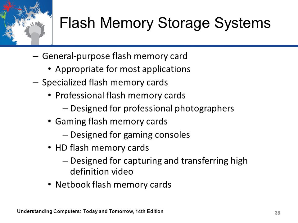 Flash Memory Storage Systems – General-purpose flash memory card Appropriate for most applications – Specialized flash memory cards Professional flash memory cards – Designed for professional photographers Gaming flash memory cards – Designed for gaming consoles HD flash memory cards – Designed for capturing and transferring high definition video Netbook flash memory cards Understanding Computers: Today and Tomorrow, 14th Edition 38